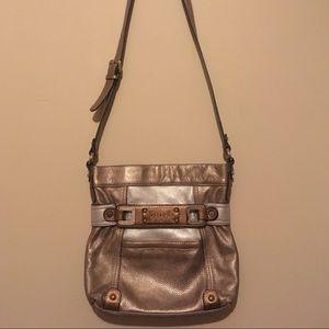 Tignanello Gold Leather Adjustable Crossbody Bag!